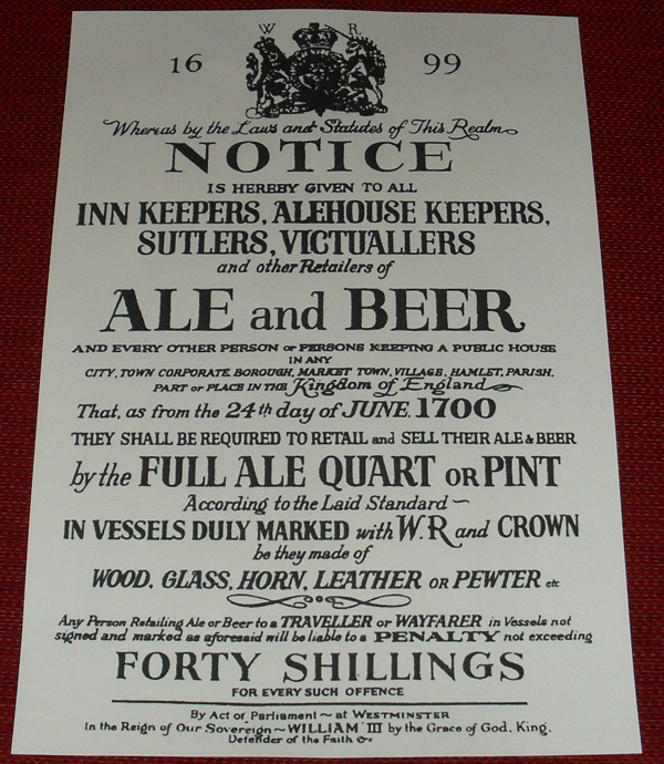 1699 Ale & Beer Notice